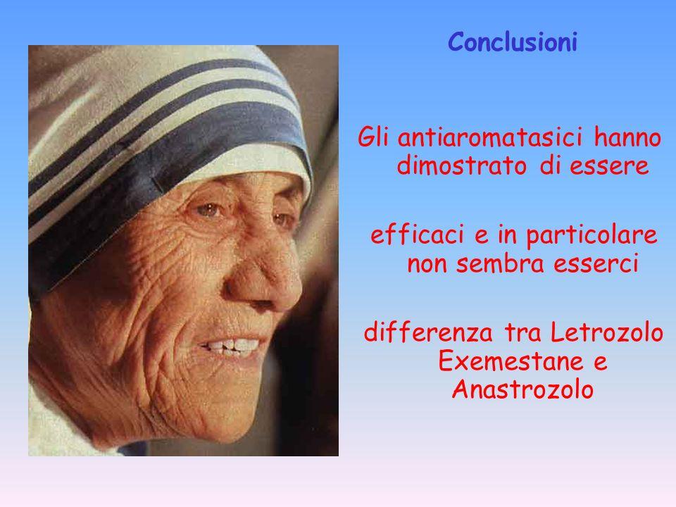 Gli antiaromatasici hanno dimostrato di essere efficaci e in particolare non sembra esserci differenza tra Letrozolo Exemestane e Anastrozolo Conclusi