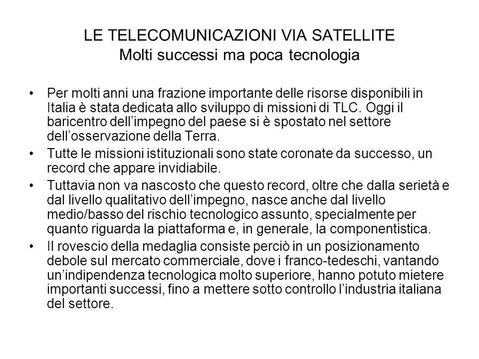 LE TELECOMUNICAZIONI VIA SATELLITE Molti successi ma poca tecnologia Per molti anni una frazione importante delle risorse disponibili in Italia è stat