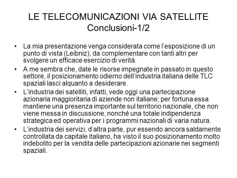 LE TELECOMUNICAZIONI VIA SATELLITE Conclusioni-1/2 La mia presentazione venga considerata come lesposizione di un punto di vista (Leibniz), da complem
