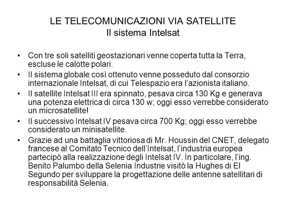 LE TELECOMUNICAZIONI VIA SATELLITE Il sistema Intelsat Con tre soli satelliti geostazionari venne coperta tutta la Terra, escluse le calotte polari. I