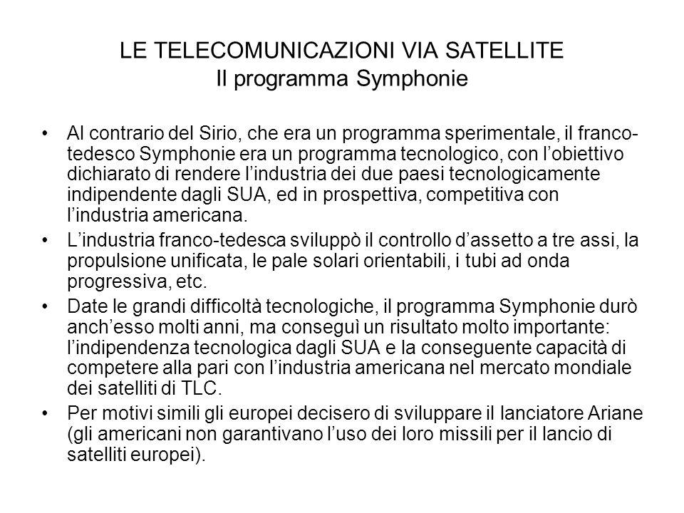 LE TELECOMUNICAZIONI VIA SATELLITE Il programma Symphonie Al contrario del Sirio, che era un programma sperimentale, il franco- tedesco Symphonie era