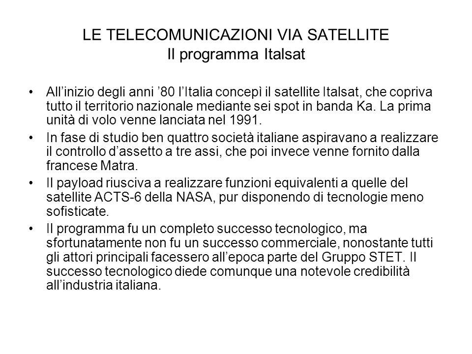 LE TELECOMUNICAZIONI VIA SATELLITE Il programma Italsat Allinizio degli anni 80 lItalia concepì il satellite Italsat, che copriva tutto il territorio