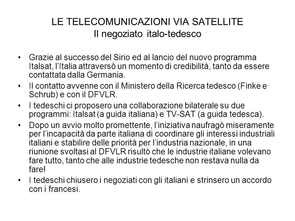 LE TELECOMUNICAZIONI VIA SATELLITE Il negoziato italo-tedesco Grazie al successo del Sirio ed al lancio del nuovo programma Italsat, lItalia attravers