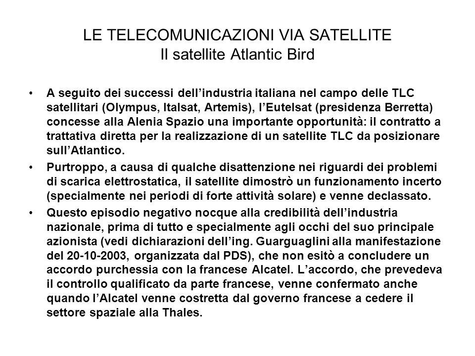LE TELECOMUNICAZIONI VIA SATELLITE Il satellite Atlantic Bird A seguito dei successi dellindustria italiana nel campo delle TLC satellitari (Olympus,