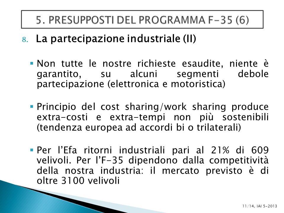 8. La partecipazione industriale (II) Non tutte le nostre richieste esaudite, niente è garantito, su alcuni segmenti debole partecipazione (elettronic