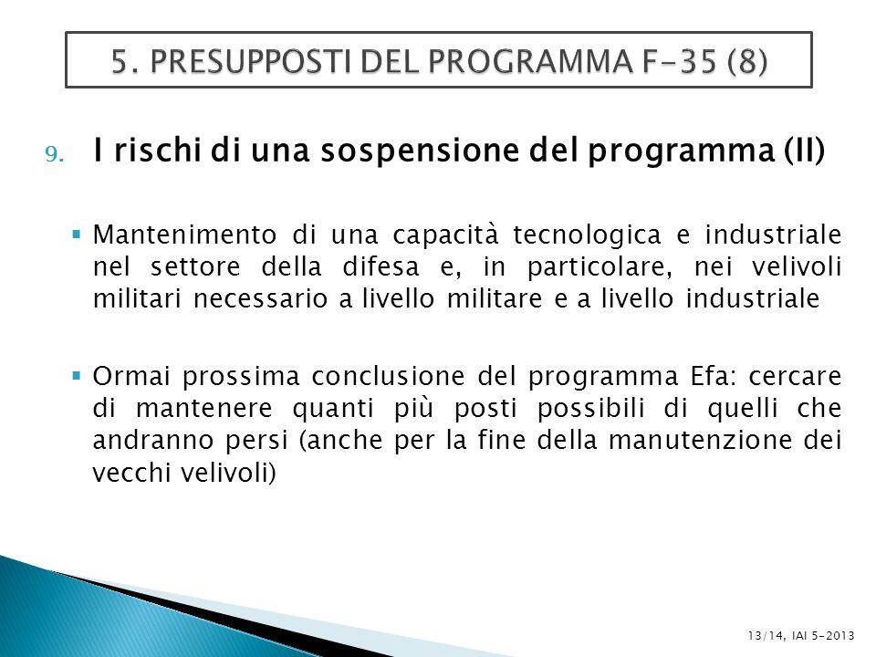 9. I rischi di una sospensione del programma (II) Mantenimento di una capacità tecnologica e industriale nel settore della difesa e, in particolare, n