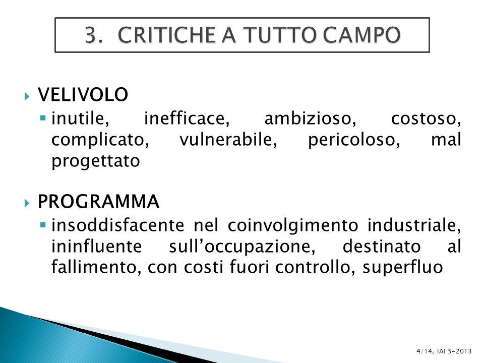 NECESSITÀ DI UNA GESTIONE SISTEMATICA 5/14, IAI 5-2013 Eccesso di sicurezza Ingenuità Sottovalutazione degli oppositori Mancanza di coordinamento fra FF.AA.