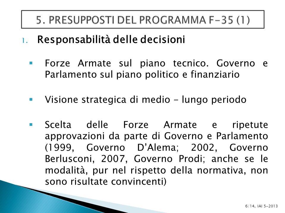 1. Responsabilità delle decisioni Forze Armate sul piano tecnico.