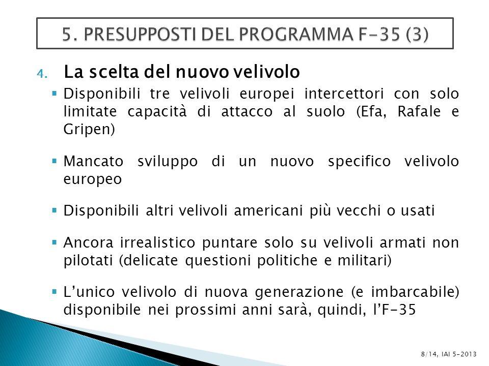 4. La scelta del nuovo velivolo Disponibili tre velivoli europei intercettori con solo limitate capacità di attacco al suolo (Efa, Rafale e Gripen) Ma