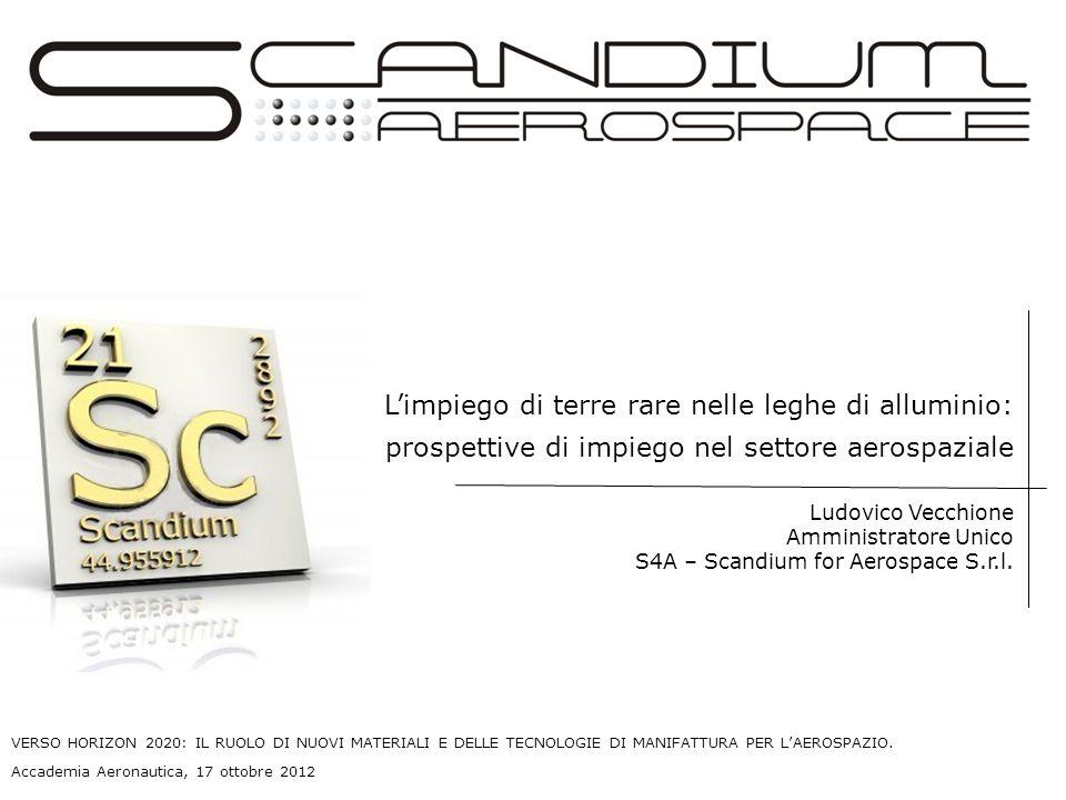 Ludovico Vecchione Amministratore Unico S4A – Scandium for Aerospace S.r.l. Limpiego di terre rare nelle leghe di alluminio: prospettive di impiego ne