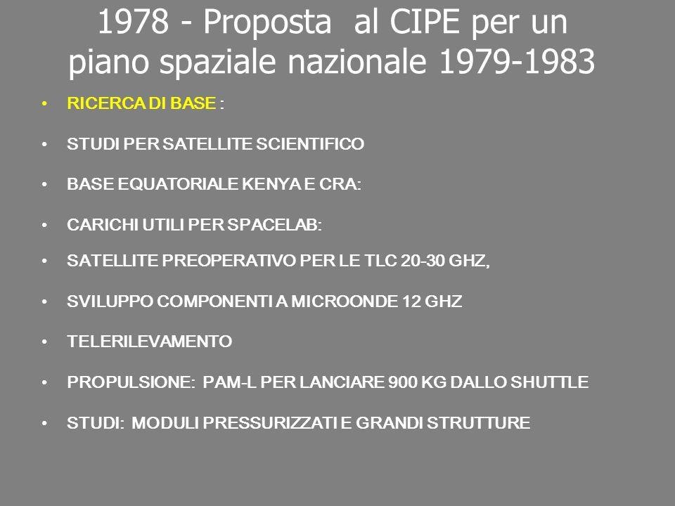 1978 - Proposta al CIPE per un piano spaziale nazionale 1979-1983 RICERCA DI BASE : STUDI PER SATELLITE SCIENTIFICO BASE EQUATORIALE KENYA E CRA: CARICHI UTILI PER SPACELAB: SATELLITE PREOPERATIVO PER LE TLC 20-30 GHZ, SVILUPPO COMPONENTI A MICROONDE 12 GHZ TELERILEVAMENTO PROPULSIONE: PAM-L PER LANCIARE 900 KG DALLO SHUTTLE STUDI: MODULI PRESSURIZZATI E GRANDI STRUTTURE