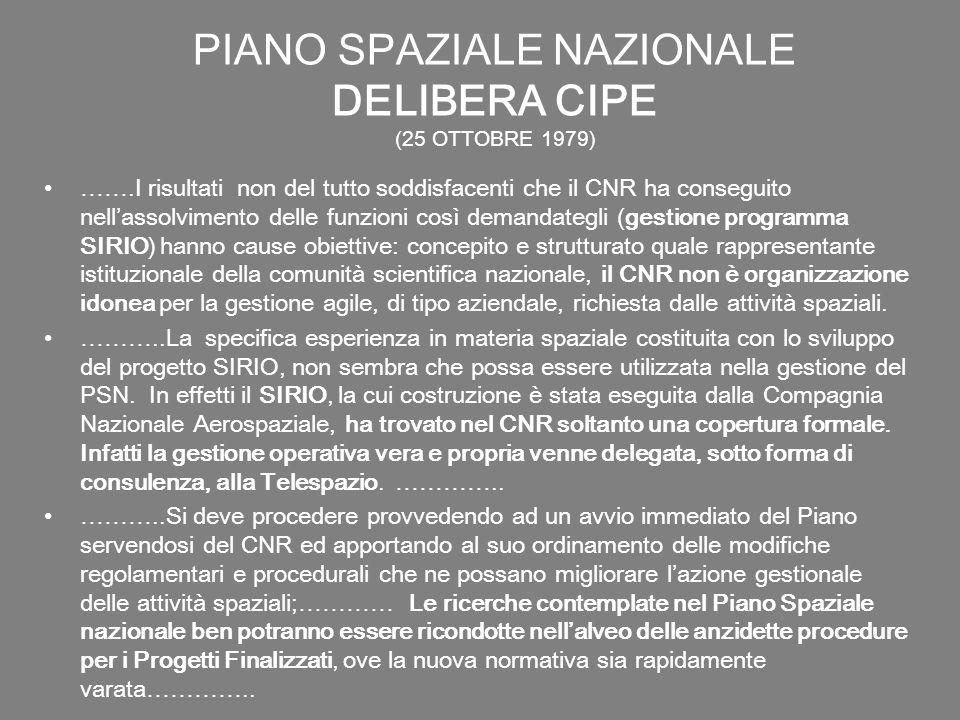 PIANO SPAZIALE NAZIONALE DELIBERA CIPE (25 OTTOBRE 1979) …….I risultati non del tutto soddisfacenti che il CNR ha conseguito nellassolvimento delle fu