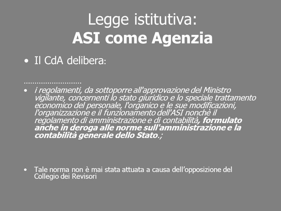 Legge istitutiva: ASI come Agenzia Il CdA delibera : ……………………… i regolamenti, da sottoporre all'approvazione del Ministro vigilante, concernenti lo st