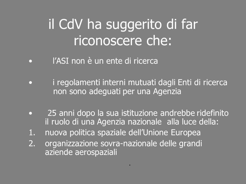 il CdV ha suggerito di far riconoscere che: lASI non è un ente di ricerca i regolamenti interni mutuati dagli Enti di ricerca non sono adeguati per un