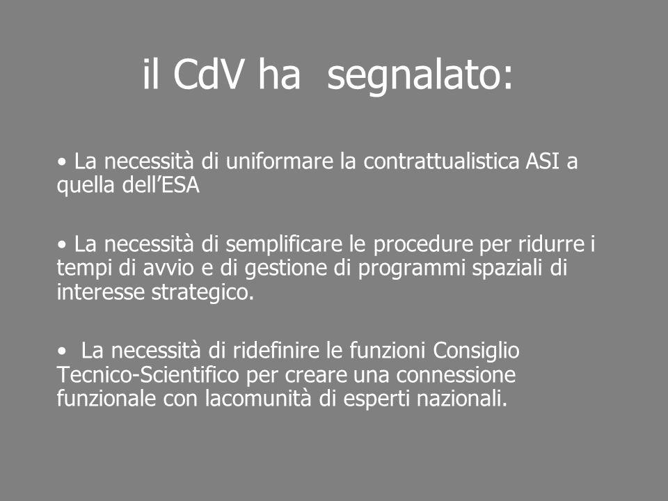 il CdV ha segnalato: La necessità di uniformare la contrattualistica ASI a quella dellESA La necessità di semplificare le procedure per ridurre i temp
