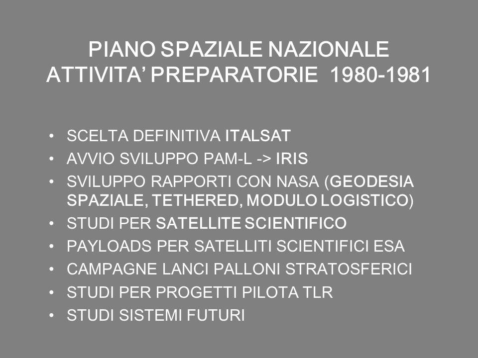 PIANO SPAZIALE NAZIONALE ATTIVITA PREPARATORIE 1980-1981 SCELTA DEFINITIVA ITALSAT AVVIO SVILUPPO PAM-L -> IRIS SVILUPPO RAPPORTI CON NASA (GEODESIA S