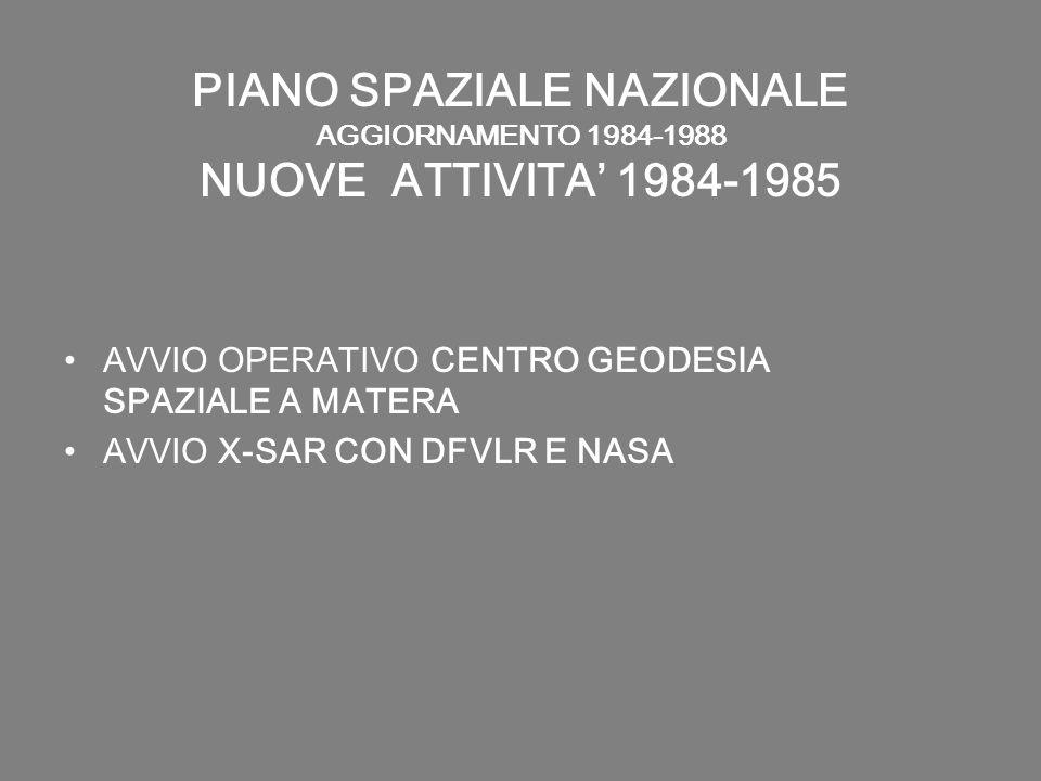PIANO SPAZIALE NAZIONALE AGGIORNAMENTO 1984-1988 NUOVE ATTIVITA 1984-1985 AVVIO OPERATIVO CENTRO GEODESIA SPAZIALE A MATERA AVVIO X-SAR CON DFVLR E NA