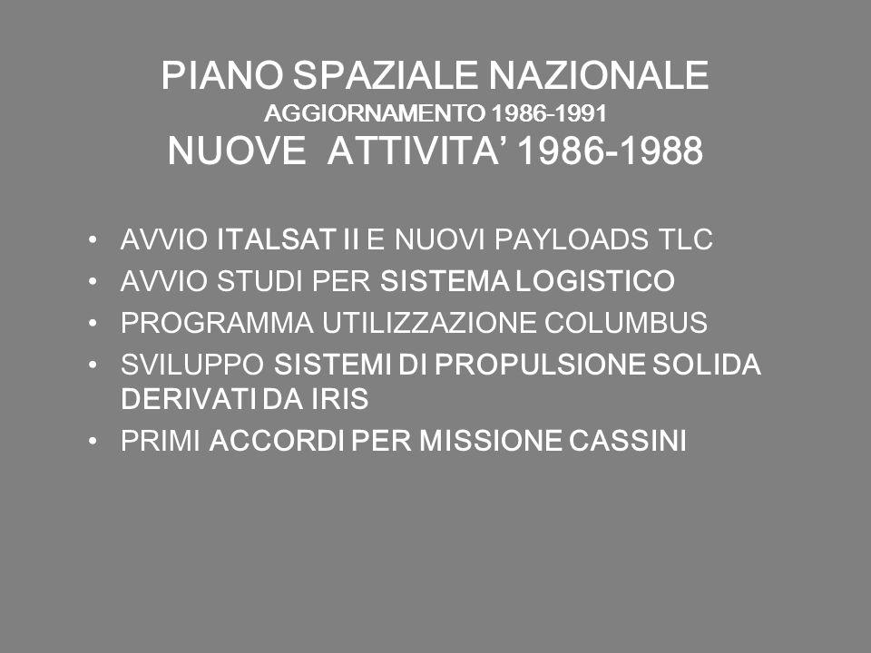PIANO SPAZIALE NAZIONALE AGGIORNAMENTO 1986-1991 NUOVE ATTIVITA 1986-1988 AVVIO ITALSAT II E NUOVI PAYLOADS TLC AVVIO STUDI PER SISTEMA LOGISTICO PROG