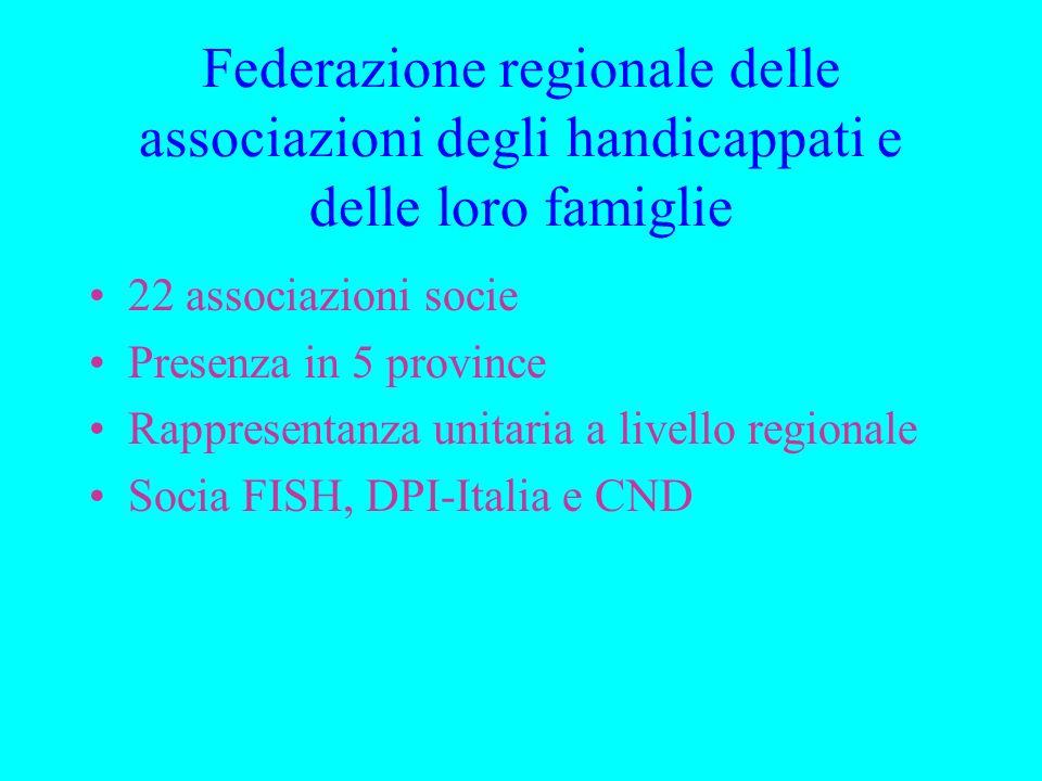Federazione regionale delle associazioni degli handicappati e delle loro famiglie 22 associazioni socie Presenza in 5 province Rappresentanza unitaria a livello regionale Socia FISH, DPI-Italia e CND