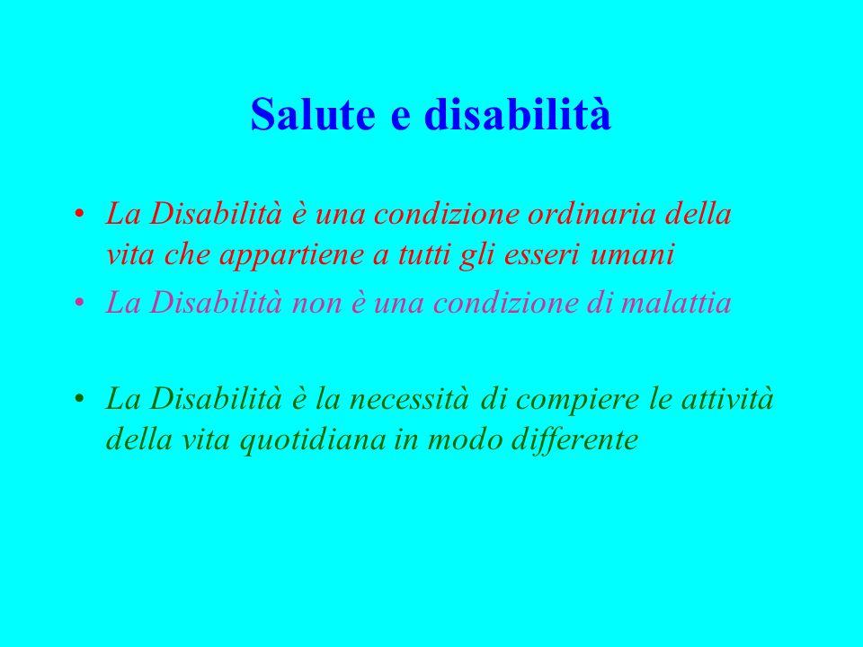 Salute e disabilità La Disabilità è una condizione ordinaria della vita che appartiene a tutti gli esseri umani La Disabilità non è una condizione di malattia La Disabilità è la necessità di compiere le attività della vita quotidiana in modo differente