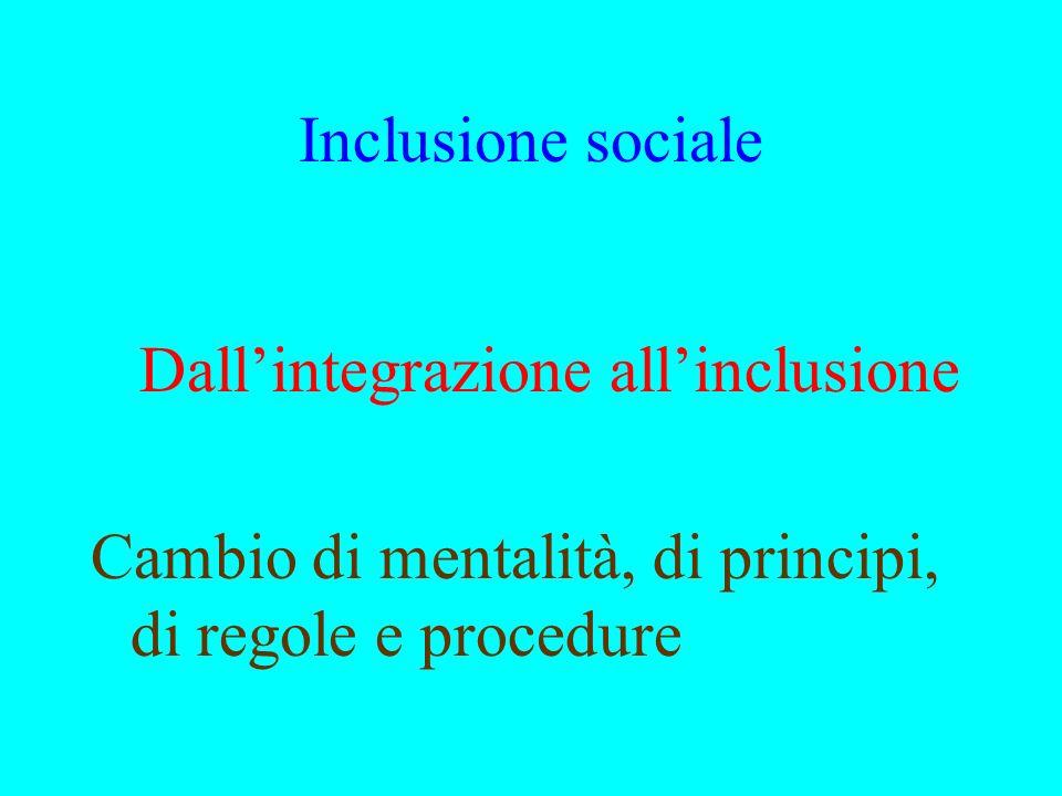 Inclusione sociale Dallintegrazione allinclusione Cambio di mentalità, di principi, di regole e procedure