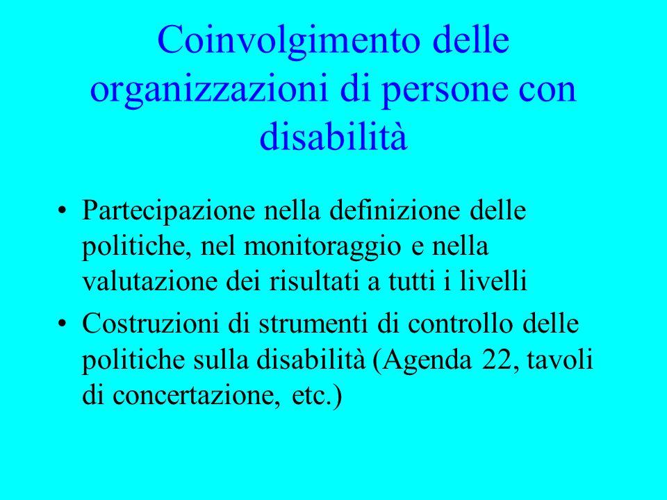 Coinvolgimento delle organizzazioni di persone con disabilità Partecipazione nella definizione delle politiche, nel monitoraggio e nella valutazione dei risultati a tutti i livelli Costruzioni di strumenti di controllo delle politiche sulla disabilità (Agenda 22, tavoli di concertazione, etc.)