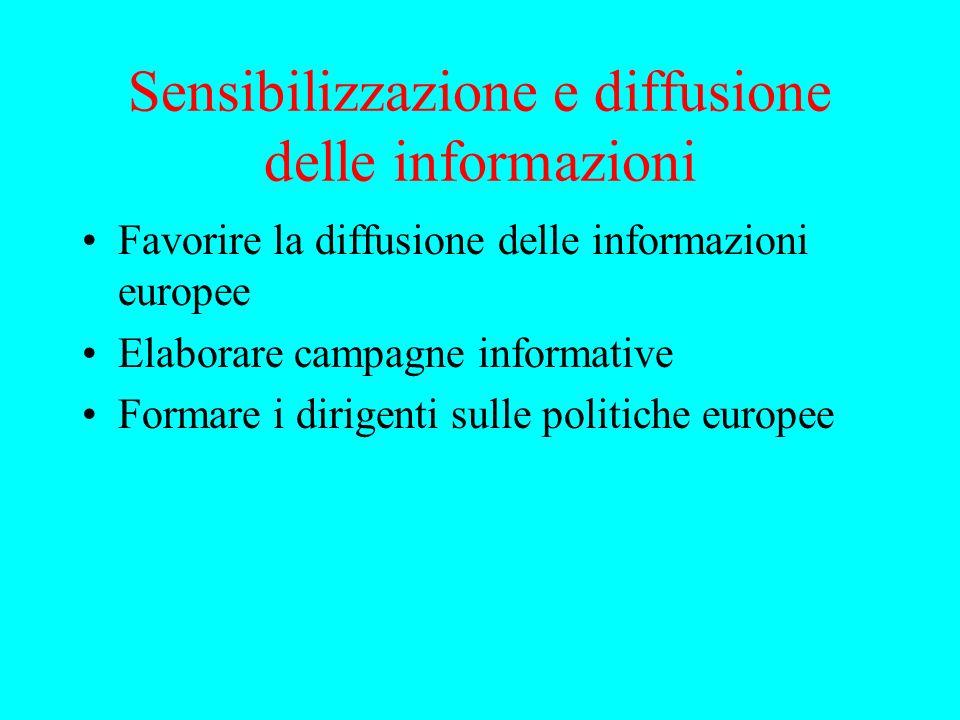 Sensibilizzazione e diffusione delle informazioni Favorire la diffusione delle informazioni europee Elaborare campagne informative Formare i dirigenti sulle politiche europee