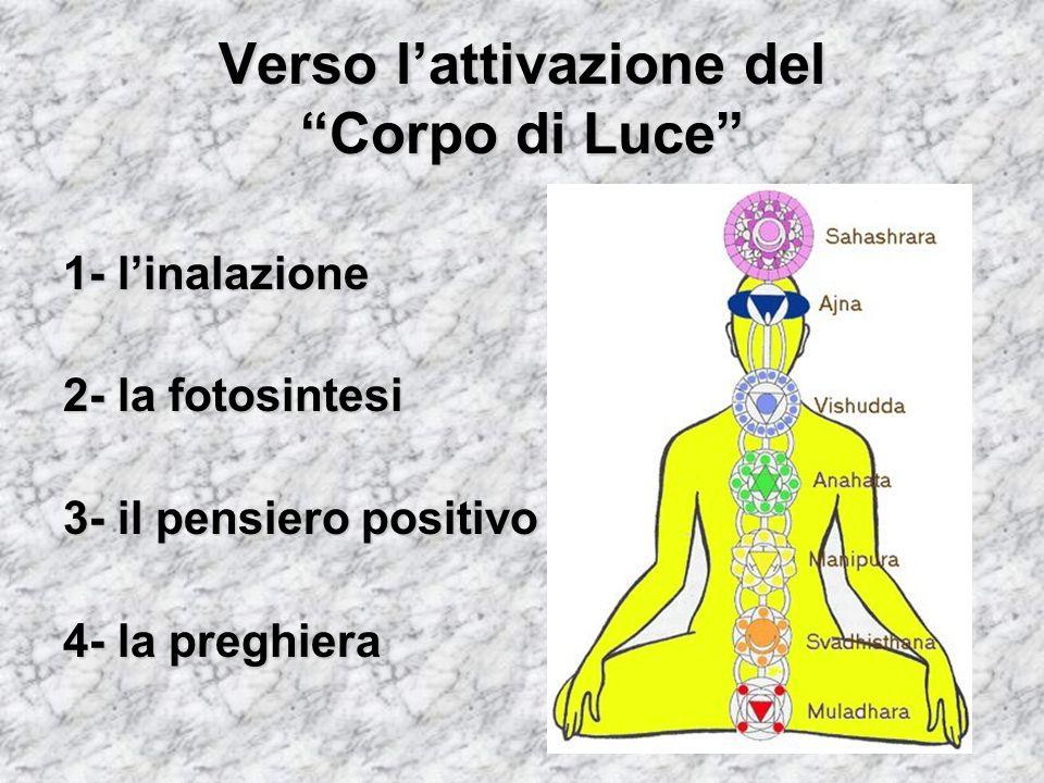Verso lattivazione del Corpo di Luce 1- linalazione 2- la fotosintesi 3- il pensiero positivo 4- la preghiera