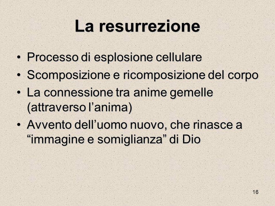 16 La resurrezione Processo di esplosione cellulareProcesso di esplosione cellulare Scomposizione e ricomposizione del corpoScomposizione e ricomposiz