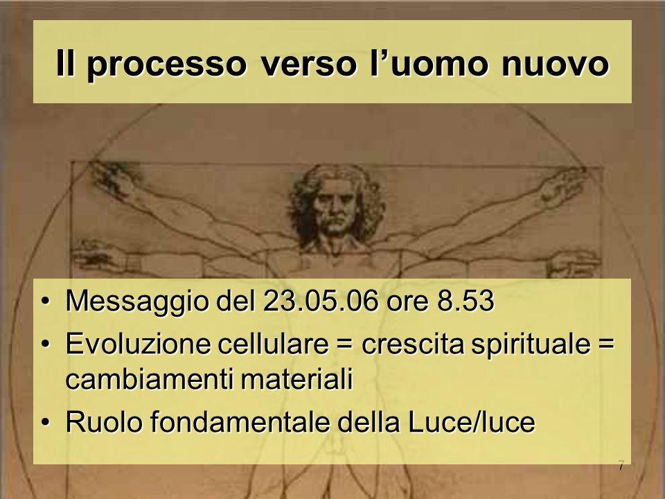 7 Il processo verso luomo nuovo Messaggio del 23.05.06 ore 8.53Messaggio del 23.05.06 ore 8.53 Evoluzione cellulare = crescita spirituale = cambiament