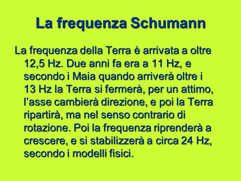 La frequenza Schumann La frequenza della Terra è arrivata a oltre 12,5 Hz. Due anni fa era a 11 Hz, e secondo i Maia quando arriverà oltre i 13 Hz la