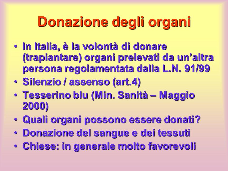Donazione degli organi In Italia, è la volontà di donare (trapiantare) organi prelevati da unaltra persona regolamentata dalla L.N. 91/99In Italia, è