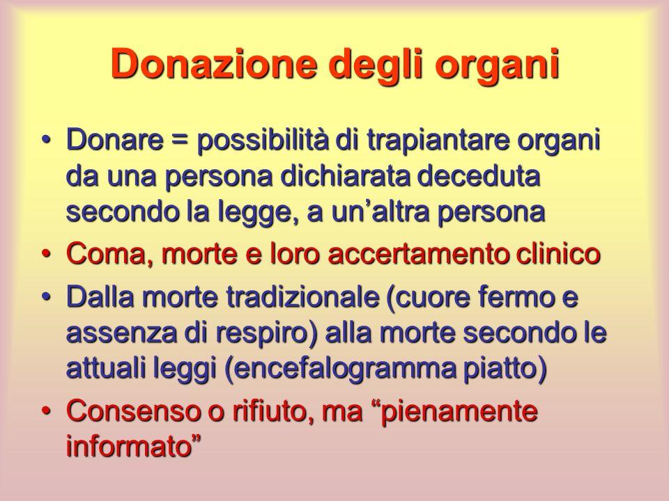 Donare = possibilità di trapiantare organi da una persona dichiarata deceduta secondo la legge, a unaltra personaDonare = possibilità di trapiantare o