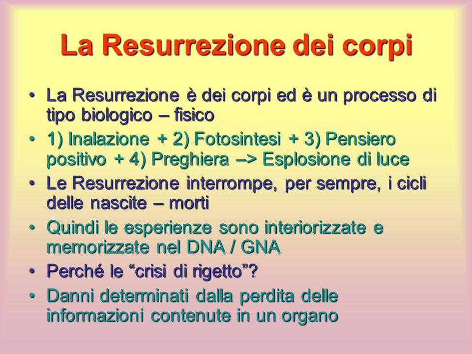 La Resurrezione dei corpi La Resurrezione è dei corpi ed è un processo di tipo biologico – fisicoLa Resurrezione è dei corpi ed è un processo di tipo