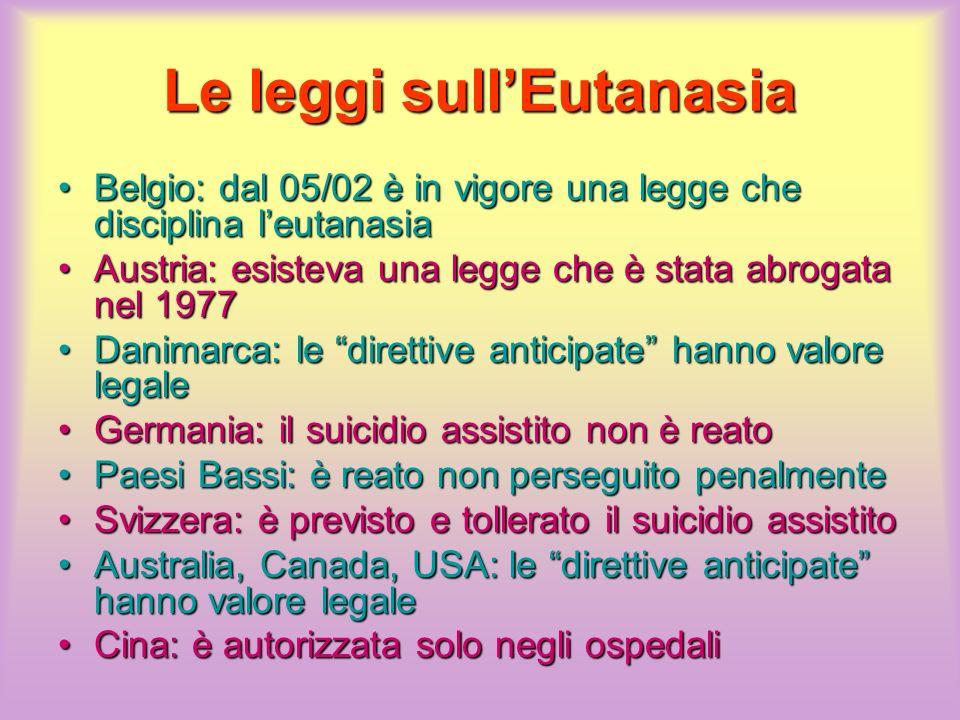 Le leggi sullEutanasia Belgio: dal 05/02 è in vigore una legge che disciplina leutanasiaBelgio: dal 05/02 è in vigore una legge che disciplina leutana