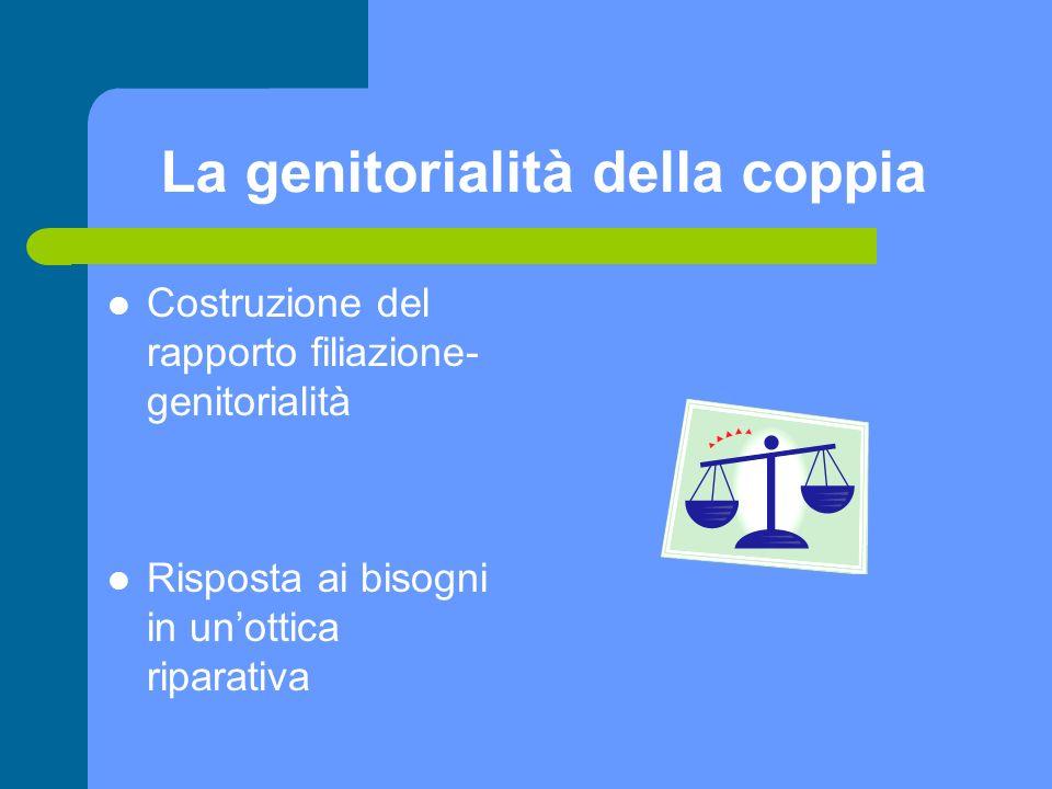 La genitorialità della coppia Costruzione del rapporto filiazione- genitorialità Risposta ai bisogni in unottica riparativa
