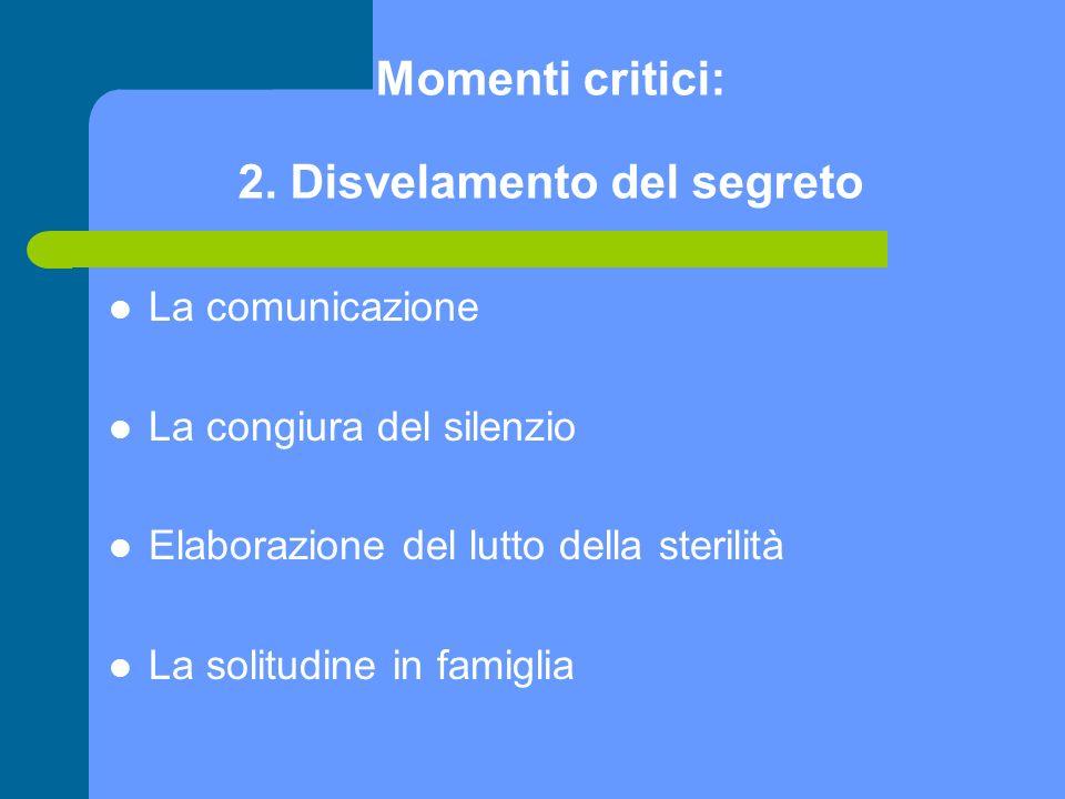 Momenti critici: 2. Disvelamento del segreto La comunicazione La congiura del silenzio Elaborazione del lutto della sterilità La solitudine in famigli