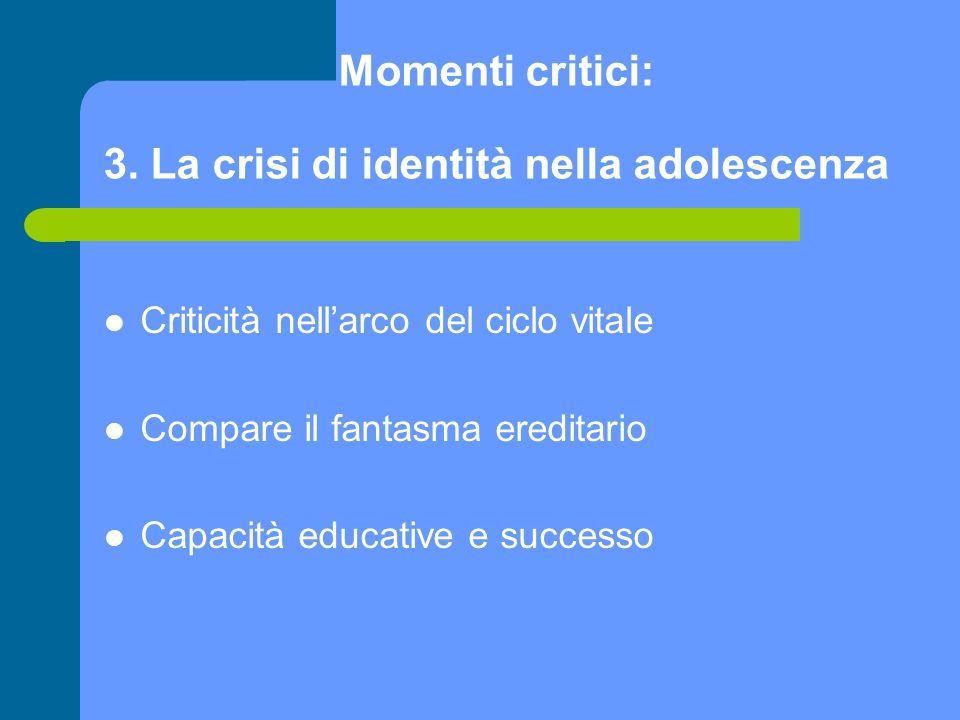 Momenti critici: 3. La crisi di identità nella adolescenza Criticità nellarco del ciclo vitale Compare il fantasma ereditario Capacità educative e suc
