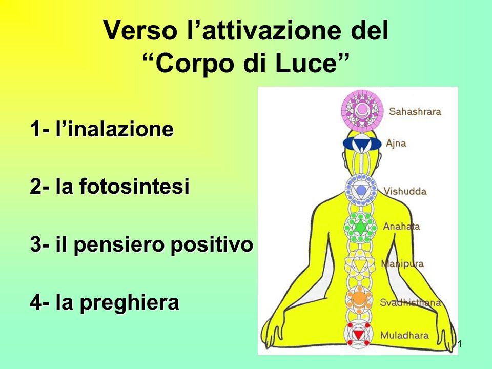 11 Verso lattivazione del Corpo di Luce 1- linalazione 2- la fotosintesi 3- il pensiero positivo 4- la preghiera