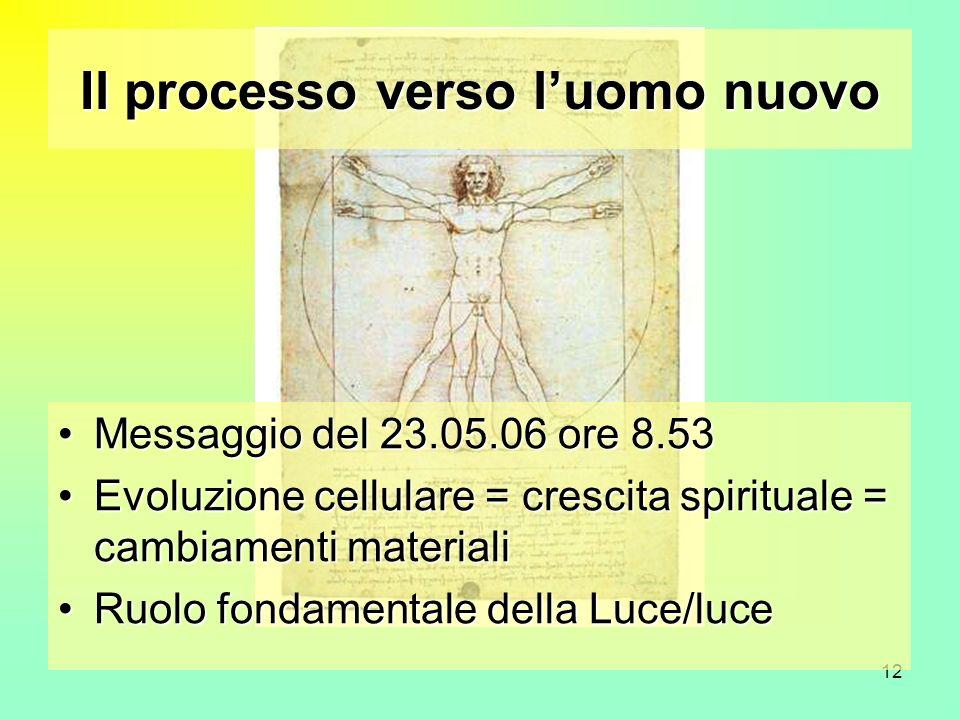 12 Il processo verso luomo nuovo Messaggio del 23.05.06 ore 8.53Messaggio del 23.05.06 ore 8.53 Evoluzione cellulare = crescita spirituale = cambiamen