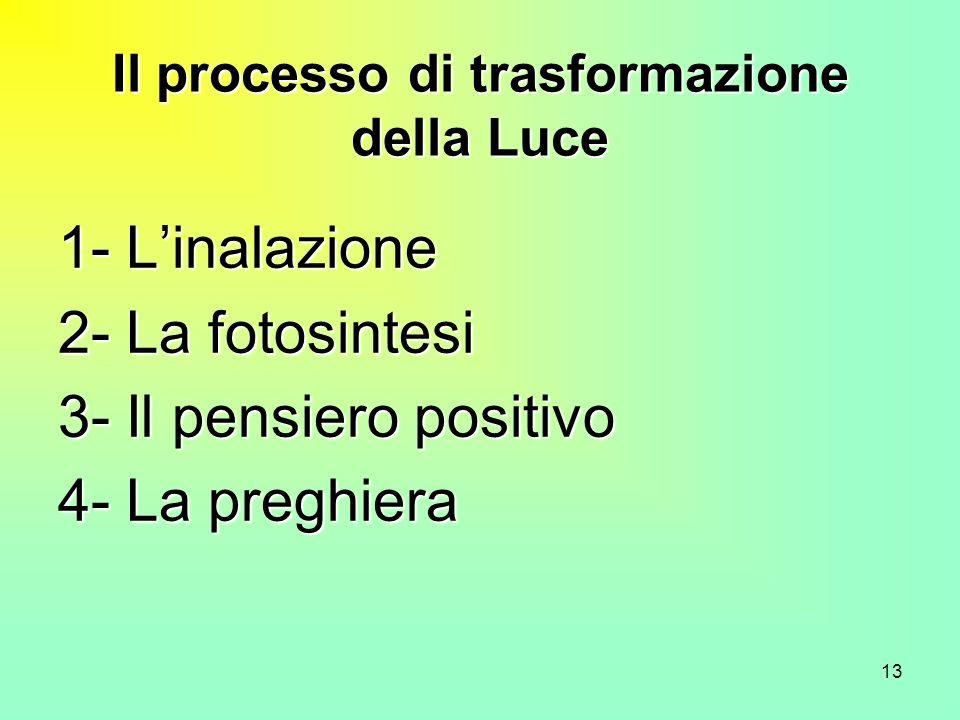 13 Il processo di trasformazione della Luce 1- Linalazione 2- La fotosintesi 3- Il pensiero positivo 4- La preghiera