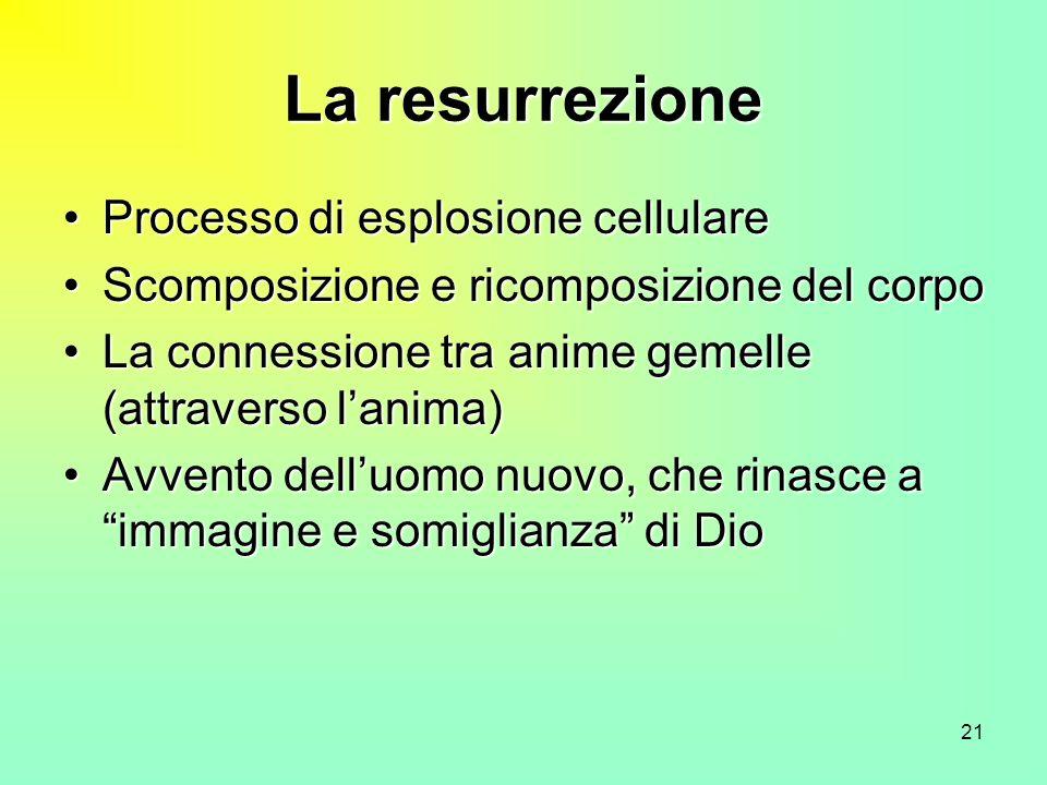 21 La resurrezione Processo di esplosione cellulareProcesso di esplosione cellulare Scomposizione e ricomposizione del corpoScomposizione e ricomposiz