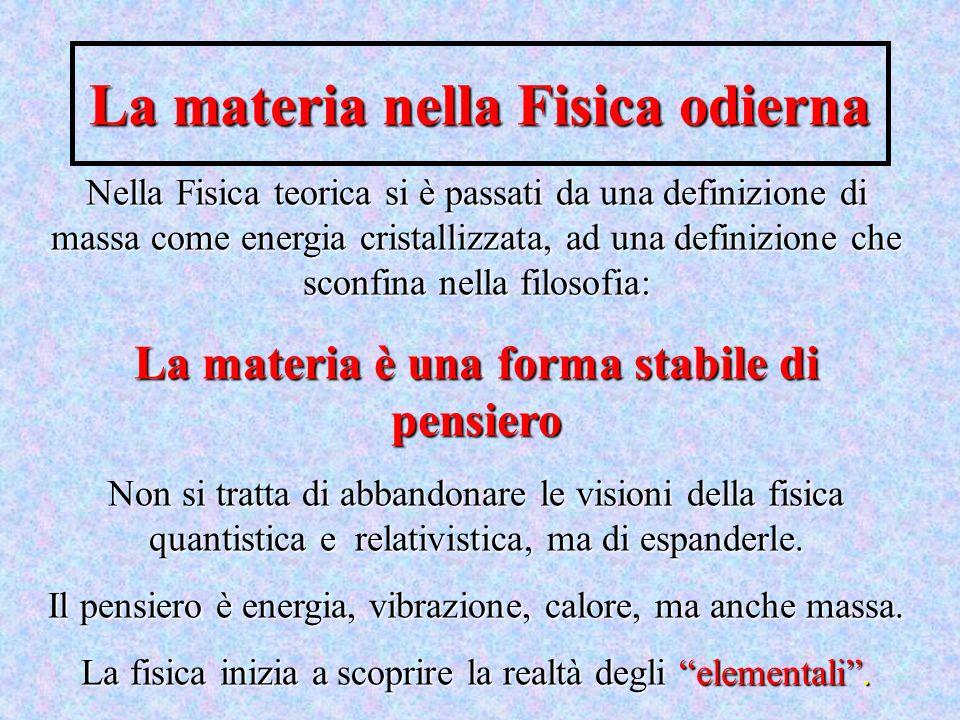 La materia nella Fisica odierna Nella Fisica teorica si è passati da una definizione di massa come energia cristallizzata, ad una definizione che scon
