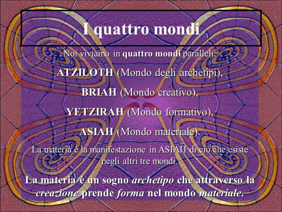 I quattro mondi Noi viviamo in quattro mondi paralleli: ATZILOTH (Mondo degli archetipi), BRIAH (Mondo creativo), YETZIRAH (Mondo formativo), ASIAH (M