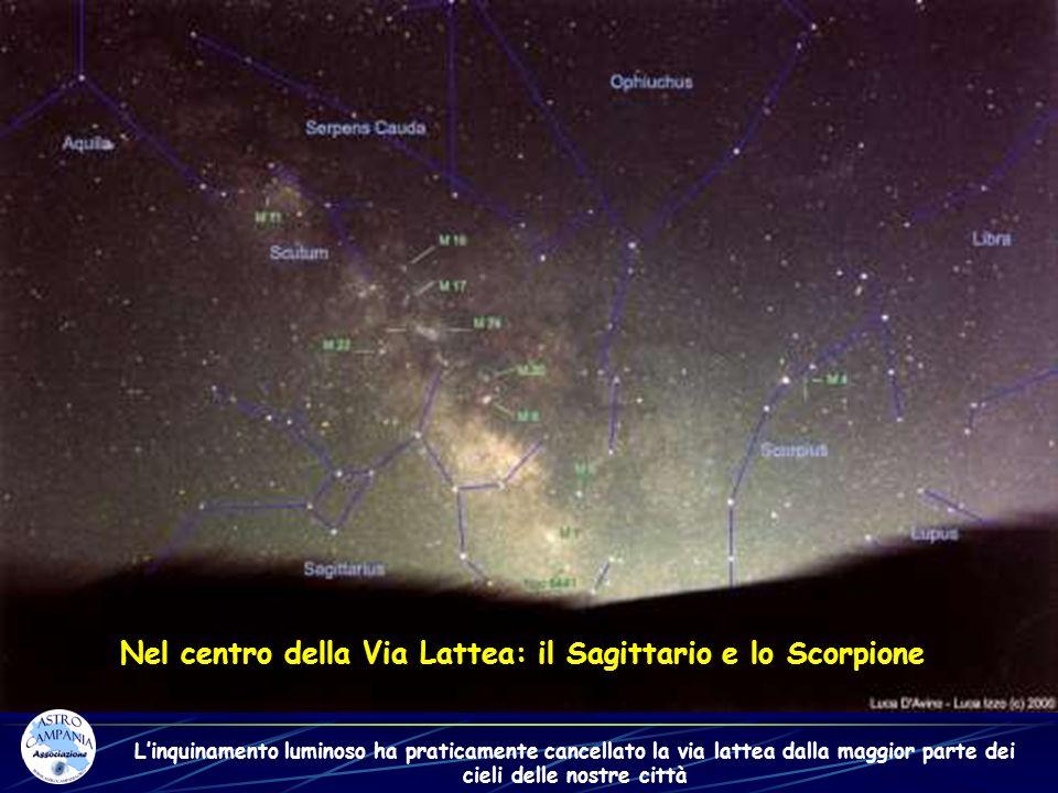 Nel centro della Via Lattea: il Sagittario e lo Scorpione Linquinamento luminoso ha praticamente cancellato la via lattea dalla maggior parte dei ciel