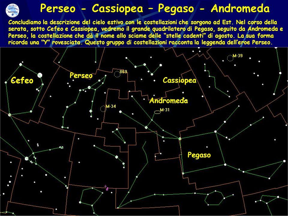 Perseo - Cassiopea – Pegaso - Andromeda Cassiopea Andromeda Perseo Pegaso Cefeo Concludiamo la descrizione del cielo estivo con le costellazioni che s