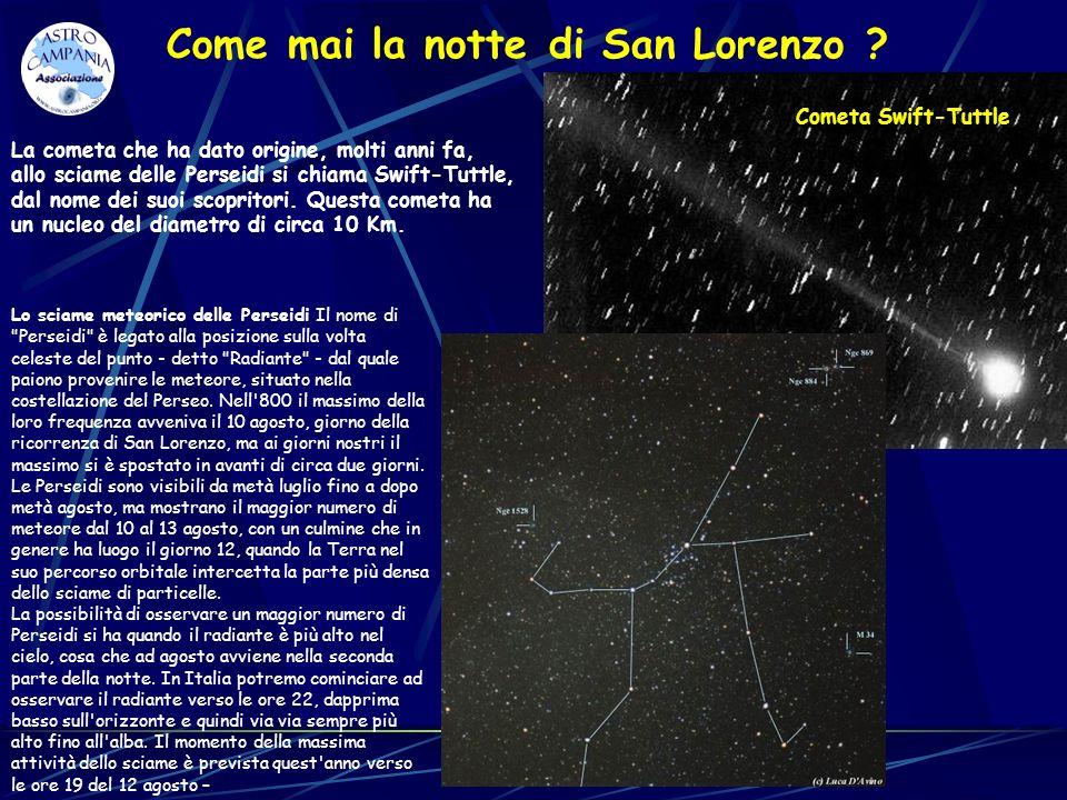 La cometa che ha dato origine, molti anni fa, allo sciame delle Perseidi si chiama Swift-Tuttle, dal nome dei suoi scopritori. Questa cometa ha un nuc