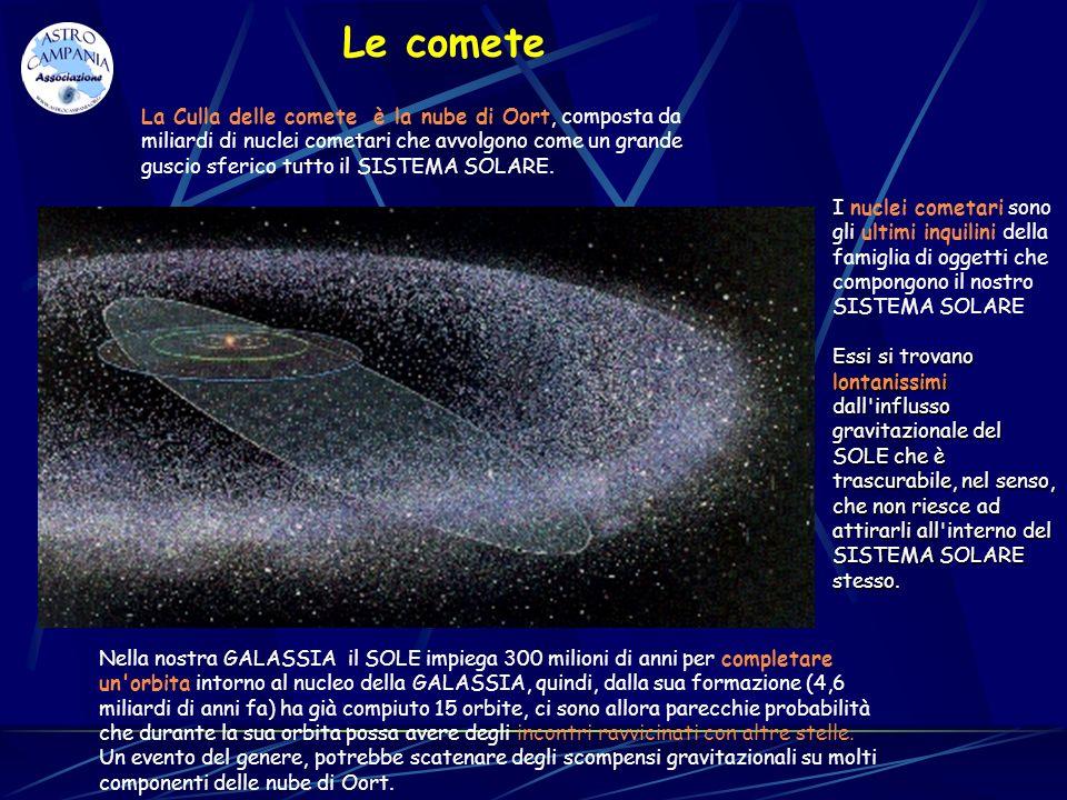 Le comete La Culla delle comete è la nube di Oort, composta da miliardi di nuclei cometari che avvolgono come un grande guscio sferico tutto il SISTEM