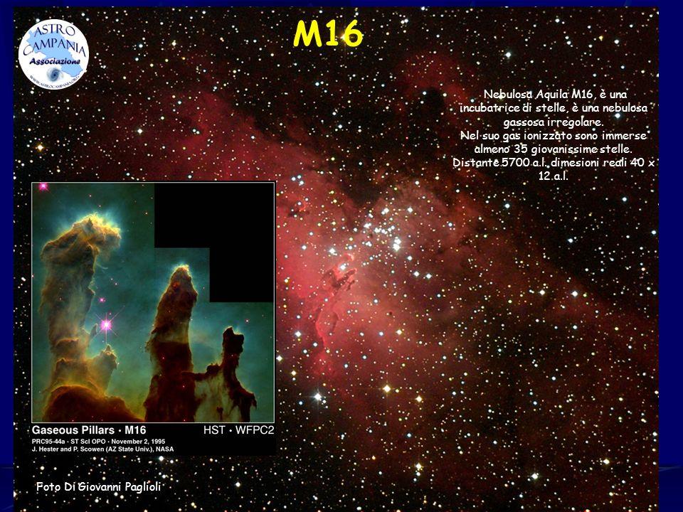 M16 Nebulosa Aquila M16, è una incubatrice di stelle, è una nebulosa gassosa irregolare. Nel suo gas ionizzato sono immerse almeno 35 giovanissime ste