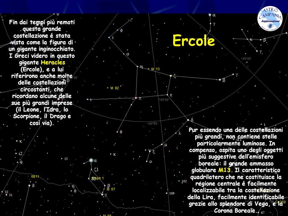 Ercole Fin dai tempi più remoti questa grande costellazione é stata vista come la figura di un gigante inginocchiato. I Greci videro in questo gigante